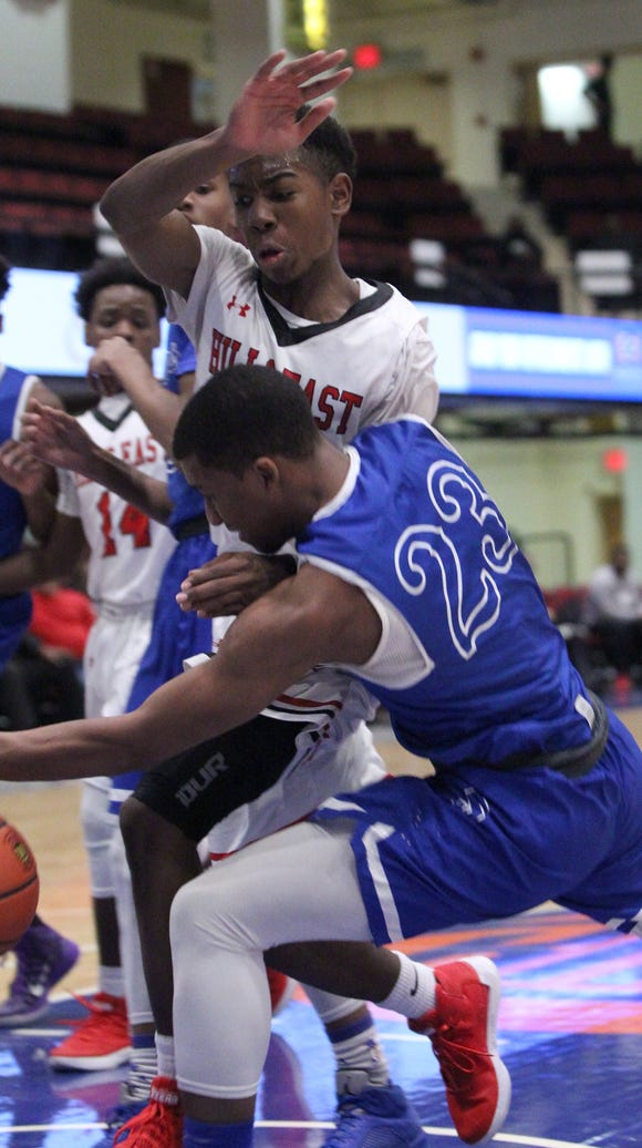 Saunders' Tyleek Mack drives into Half Hollow East's