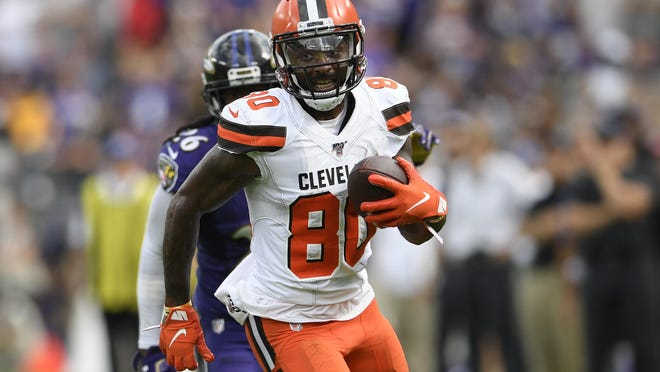 Cleveland Browns wide receiver Jarvis Landry (80) runs with the ball during the second half of an NFL football game against the Baltimore Ravens, game Sunday, Sept. 29, 2019, in Baltimore.