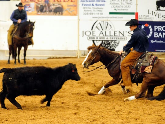 Collbran Larsen competes in the Abilene Winter Spectacular Cutting at the Taylor County Expo Center.