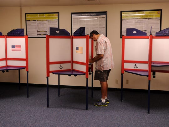 Art Jaramillo, of Oxnard, votes at the county elections