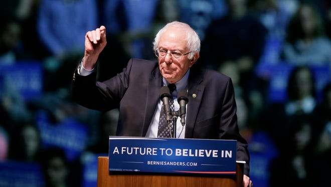 Vermont Sen. Bernie Sanders speaks at a rally at Michigan State University on March 2, 2016.