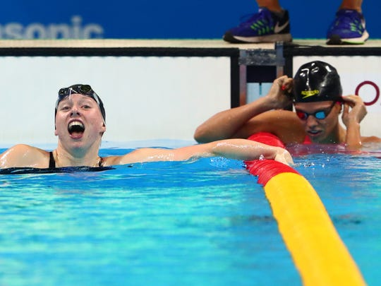 Lilly King celebrated next to Yulia Efimova of Russia after winning the women's 100m breaststroke final during the Rio 2016 Summer Olympic Games. She stoked their rivalry by saying that athletes with doping violations —such as Efimova —shouldn't be allowed to compete in the Olympics.