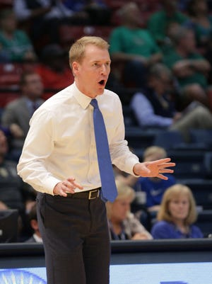 Louisiana Tech coach Eric Konkol during the first half of the Conference USA Tournament against Marshall Thundering Herd at Legacy Arena.