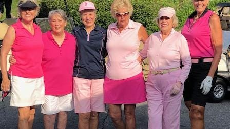 Members of the Hendersonville Country Club Women's Golf Association pose following the Women Helping Women Tournament held this week. From left to right are Debby Chapman, Elaine Harris, Jane Hendrix, Lillian Warren, Lavinia Zimmerman and Jill Robbins.