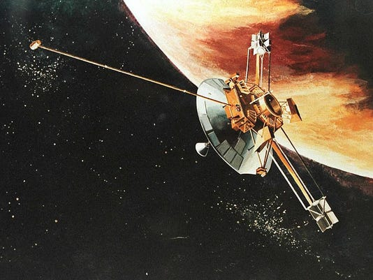This is an artist rendition of the Pioneer 10 spac