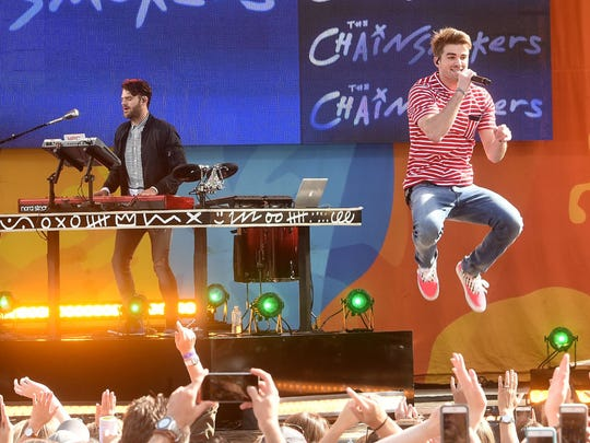 """Alex Pall and Andrew Taggart of The Chainsmokers perform on ABC's """"Good Morning America"""" at SummerStage at Rumsey Playfield, Central Park on June 9, 2017 in New York City.  (Photo by Jamie McCarthy/Getty Images)"""