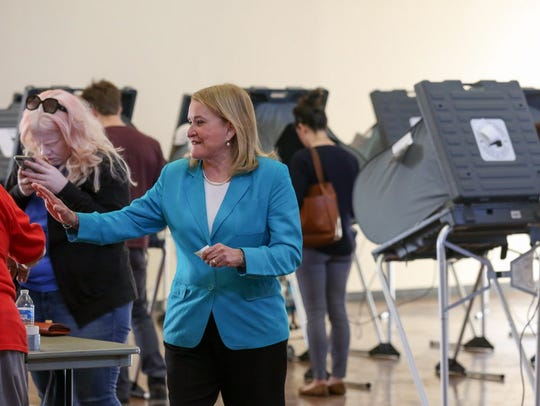 State Sen. Sylvia Garcia exits the polling station