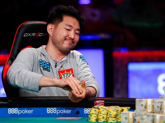 John Cynn competes during the World Series of Poker main event, Saturday, July 14, 2018, in Las Vegas.