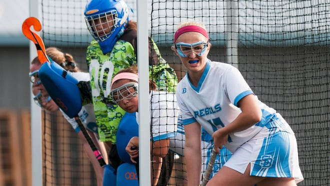 South Burlington's Melissa Valgoi (17) and teammates wait for the corner during the girls varsity field hockey game between the Essex Hornets and the South Burlington Rebels at South Burlington High School on Tuesday afternoon September 30, 2014 in South Burlington, Vermont. (BRIAN JENKINS, for the Free Press)