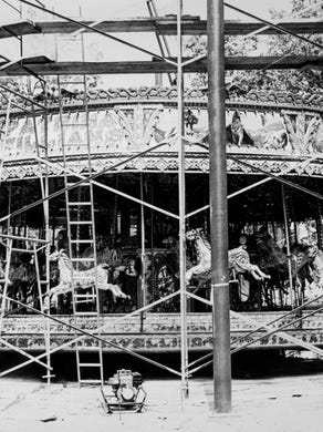 1974: This 1890 steam-driven English carousel is located in the Enchanted Forest area.