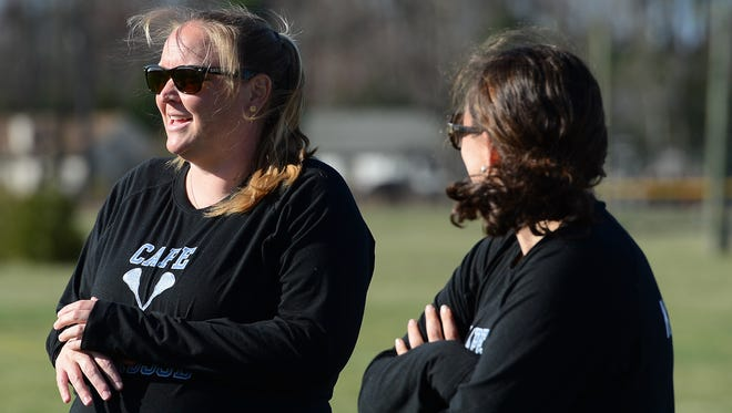 Cape Henlopen's head coach Lindsey Eichner  (L) during the matchup on against Indian River on Wednesday, March 29, 2017 in Dagsboro, Del.