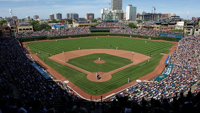 Aug. 4, 2013 - An overhead shot shows Wrigley Field as the Los Angeles Dodgers play the Chicago Cubs.