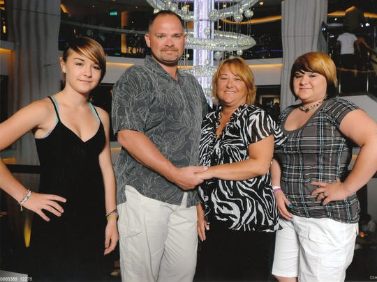 This photo of the Volkman family was taken during a cruise vacation in 2010. From left to right are Dani, Marc, Kathy and Miranda Volkman, Dani's older sister.