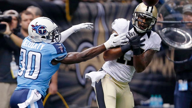 Titans cornerback Jason McCourty was called for pass interference twice against the Saints as part of an added emphasis on illegal contact.