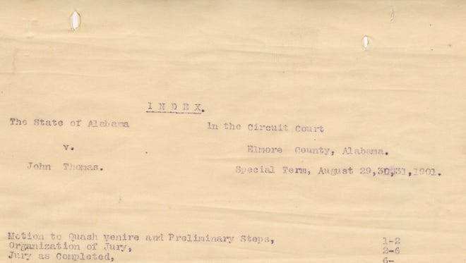 Title page of the 1901 transcript of the lynching trial of John Thomas, who was convicted of murder in the death of Robin White.