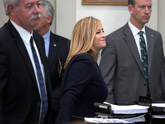 Nashville Mayor Megan Barry smiles at Judge Monte D.