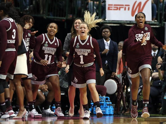 Mar 31, 2017; Dallas, TX, USA; Mississippi State Lady Bulldogs guard Roshunda Johnson (11) and guard Blair Schaefer (1) react with the bench in the fourth quarter against the Connecticut Huskies in the semifinals of the women's Final Four at American Airlines Center. Mandatory Credit: Kevin Jairaj-USA TODAY Sports