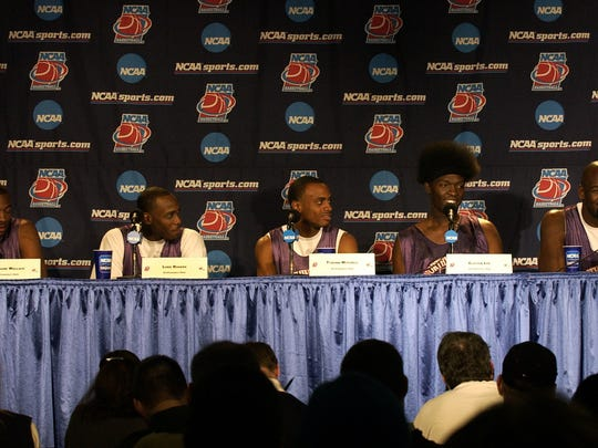 (From left) Northwestern State's Jermaine Wallace, Luke Rogers, Tyronn Mitchell, Clifton Lee and Byron Allen talk to the media during a press conference the day after the Demons beat Iowa in the NCAA Tournament.