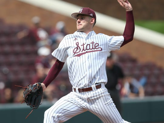 Mississippi State's Ethan Small (44) releases a pitch. Mississippi State played Vanderbilt in an SEC college baseball game on Saturday, March 17, 2018. Photo by Keith Warren