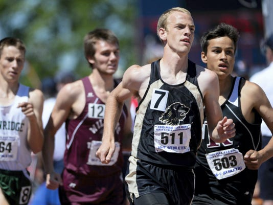 Red Lion's Ethan Gatchell competes in the boys' Class AAA 800-meter run as athletes competed during Day 2 of the PIAA state track and field championships at Shippensburg University on May 23.