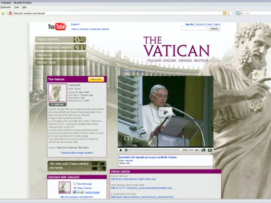 This screenshot downloaded from YouTube shows the Vatican's channel on YouTube, the video-sharing Website. The Vatican said it launched the channel to broaden Benedict's audience while also giving the Holy See better control over the papal image online.