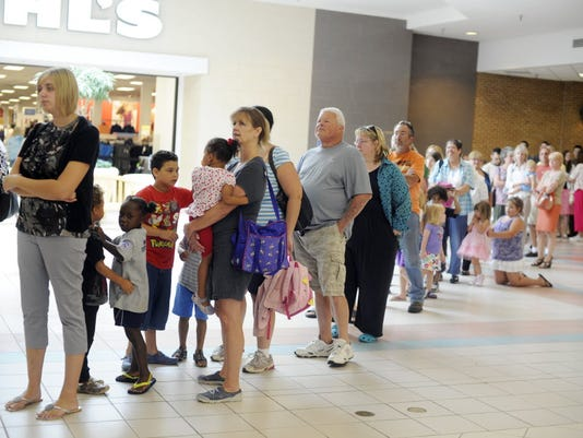 A recent report showed that 56 percent of restaurants in York County serve fast food. In this photo, a line winds through the mall from Chick-fil-A on the restaurant's appreciation day in August 2012. (DAILY RECORD/SUNDAY NEWS - KATE PENN   YORK DAILY RECORD/SUNDAY NEWS)