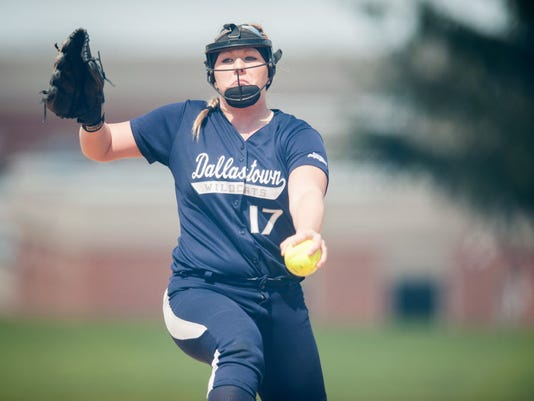 Dallastown pitcher Kayla Merriman (17) shut down Northeastern's lineup leading the Wildcats to a 10-0 win at home on Saturday, April 5, 2014. (Jeff Lautenberger -- GameTimePA.com)