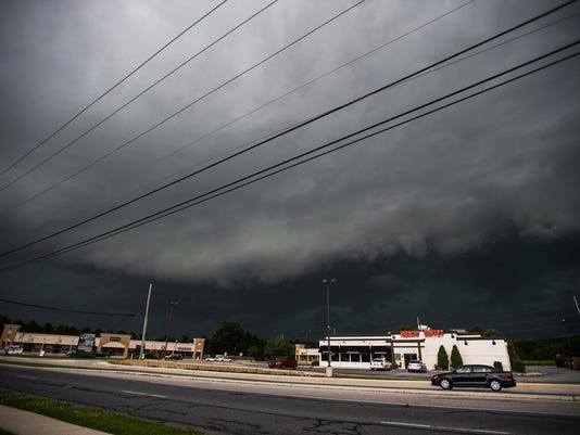 A storm heads toward Hanover from Eisenhower Drive on Tuesday afternoon.
