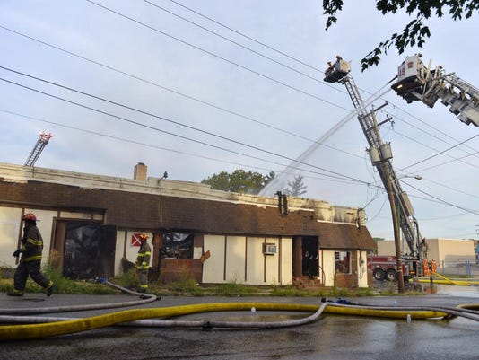 A second-alarm fire at Manor and Lafayette in York City destroyed the Dutch Club building Thursday, Aug. 6, 2015.
