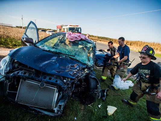 A female driver was flown from the scene of the Reading Township crash.