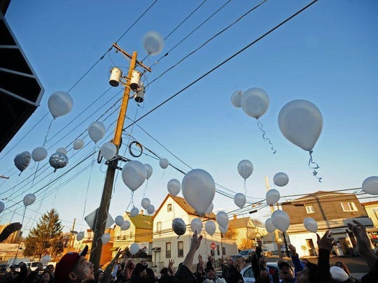 Friends and family release 42 balloons in 2013 at a vigil in North Bergen near the site of a hit-and-run accident.