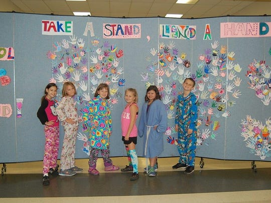 """Students at Roy Allen Elementary wore their pajamas to school as part of the """"Dreaming of kindness"""" theme."""