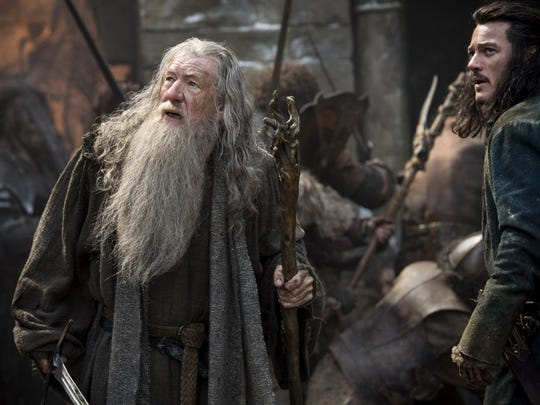 "Ian McKellen and Luke Evans in a scene from ""The Hobbit: The Battle of the Five Armies."""
