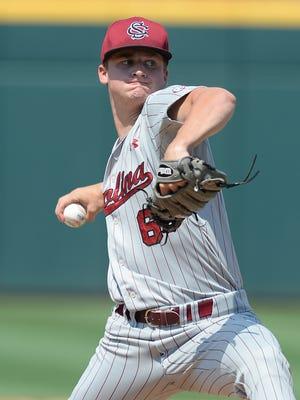 South Carolina pitcher Clarke Schmidt (6) has suffered a torn ligament.
