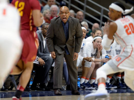 Syracuse head coach Quentin Hillsman calls out to his team in the first half of a first-round game against Iowa State in the women's NCAA college basketball tournament, Saturday, March 18, 2017, in Storrs, Conn. (AP Photo/Jessica Hill)