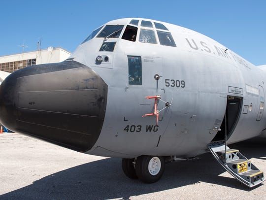 A U.S. Air Force WC-130J sits on display at Ronald