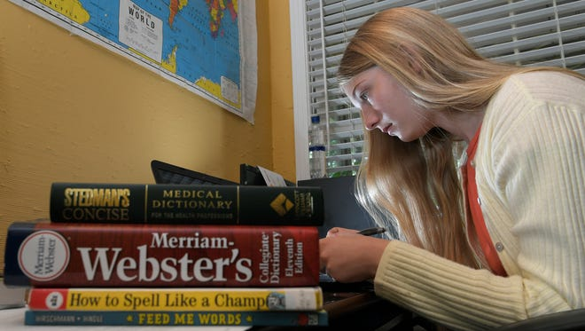 Brentwood student Sydney Aslan represented Middle Tennessee in the Scripps National Spelling Bee. Aslan is home-schooled and was sponsored by the Williamson County Homeschool Group. Aslan uses her laptop to study spelling words at her home in Brentwood on Friday, May 26, 2017.