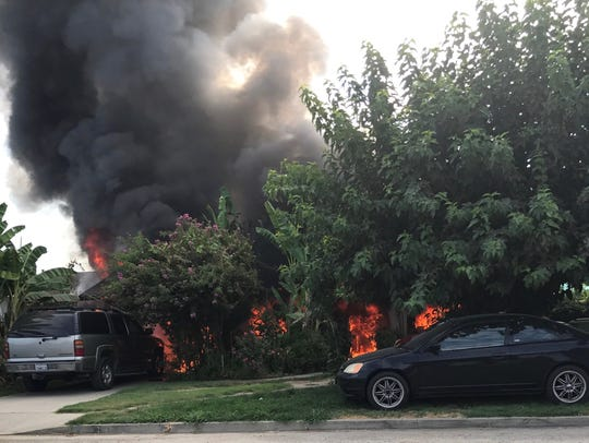 A fire destroyed a home in New London Wednesday morning.