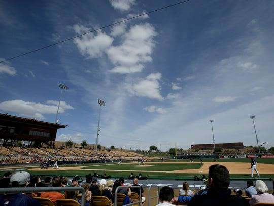 Fans at Camelback Ranch watch a Chicago White Sox spring training baseball game in Glendale.