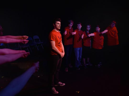 "Devin George plays Rulon Stacey, the CEO of the hospital in which murder victim Matthew Shepard spent his final moments, delivers news of Shepard's death in a scene from the StageKids production of ""The Laramie Project'' at Third Avenue Playhouse."