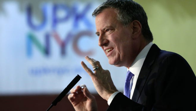 New York Mayor-elect Bill de Blasio, delivers remarks at the Friends of Crown Heights Educational Center in Brooklyn, Thursday, Dec. 19, 2013.