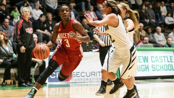 Princeton's Jackie Young drives past Lebabon during the Hall of Fame Classic at New Castle.