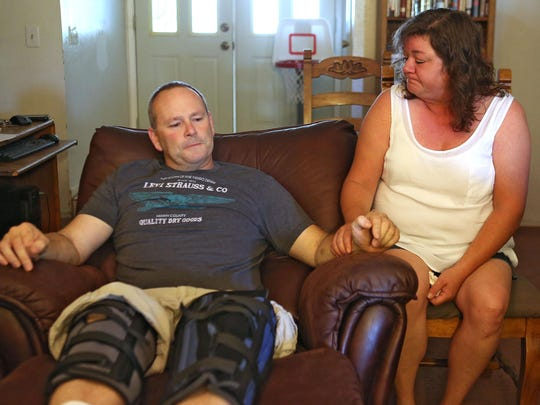 Bryon Castor was badly injured when a bridge on the I-10 Interstate was washed away by flash flood waters causing him to crash into the opening and trapping him in his truck for hours. At right is wife Tammie Dye, the two live in Desert Center.