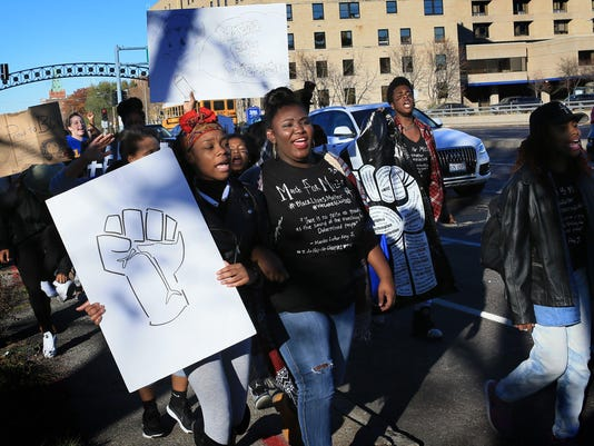 Grand Center Arts Academy students march to support Mizzou