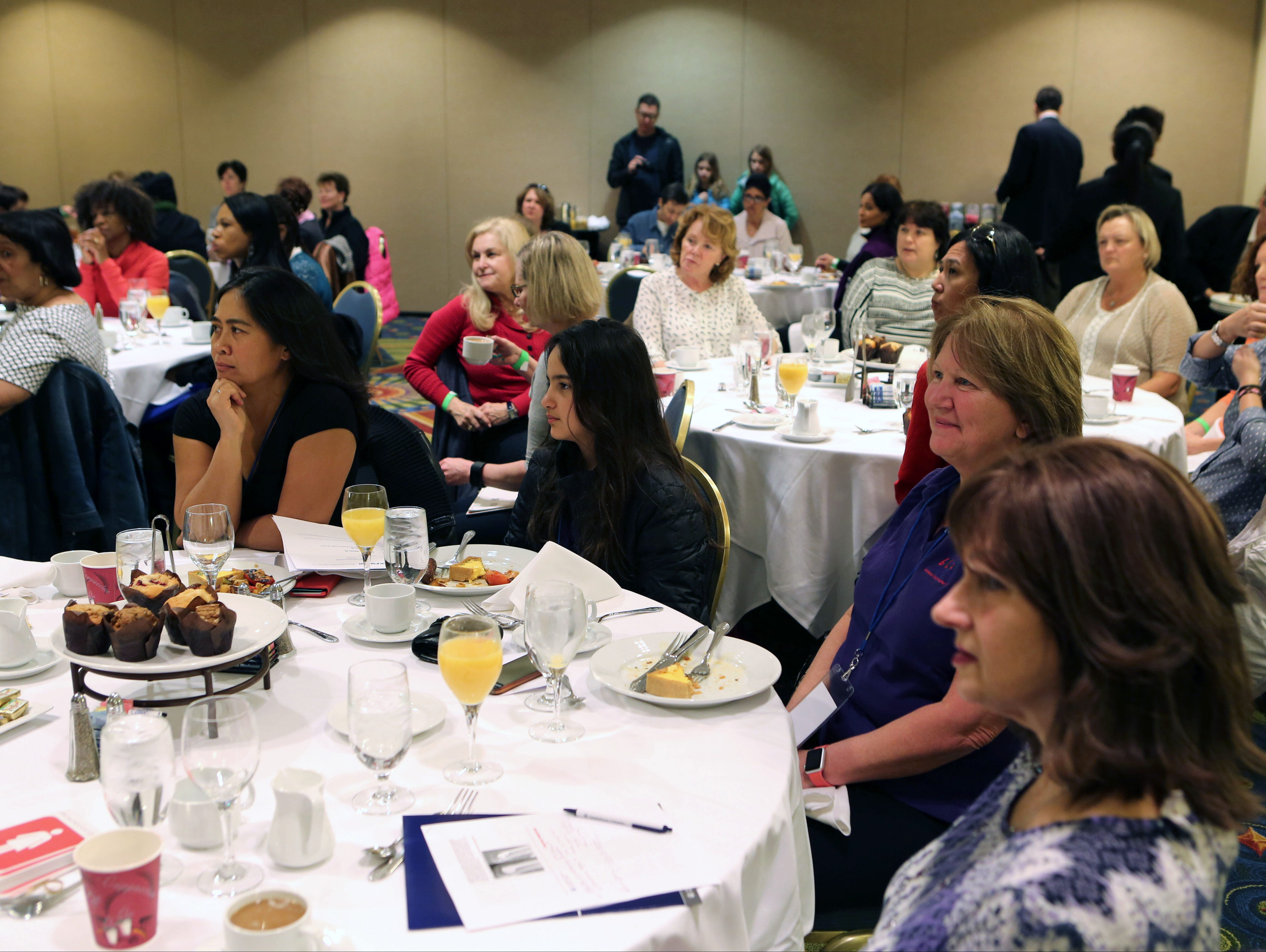 Attendees listen to speakers during the Women's Networking breakfast at the lohud.com Golf Show at the Westchester Marriott in Tarrytown, March 12, 2016. The show continues Sunday, March 13, 2016 from 9:00 a.m. till 4:00 p.m.