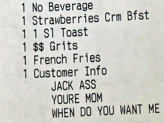 A customer at Denny's Restaurant got a surprise when