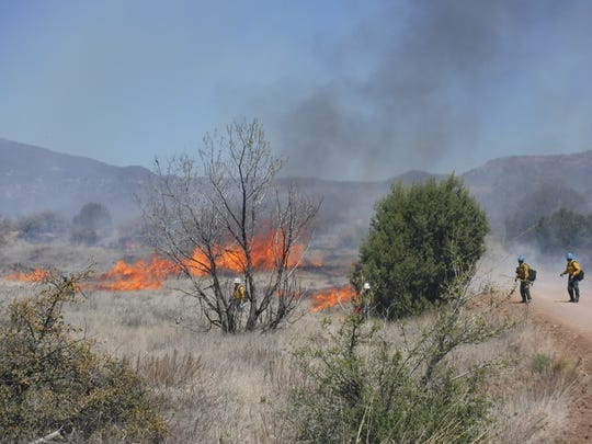 This image provided by the Gila National Forest show crews tending to a prescribed fire northeast of Silver City, N.M., on April 20, 2016. The forest also is planning a more than 15 square-mile prescribed fire this spring in a remote stretch of the forest known as Area 74 as part of the U.S. Forest Service's $375 million nationwide campaign to clean up overgrown forests and reduce the threat of catastrophic wildfire.