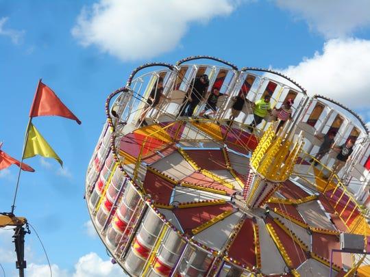 The Vortex at the Rapides Parish Fair spun rapidly as it rose into the air.