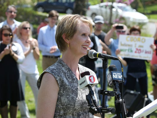 Cynthia Nixon, speaks during Tuesday's rally in New