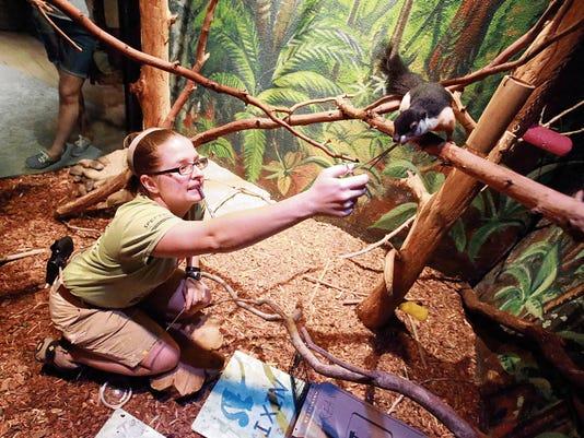 VICTOR CALZADA-EL PASO TIMES Zookeeper Natasha Bretz fed Mali the squirrel Friday at the El Paso Zoo.